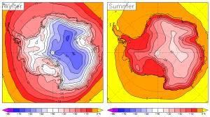 Temperatura media en la Antártida en invierno y en verano durante el periodo 1979-2001. Fte:www.zonu.com