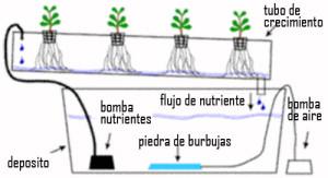 Esquema de funcionamiento del sistema NFT para cultivos hidropónicos. Fuente: http://blog.zonadecultivo.es/