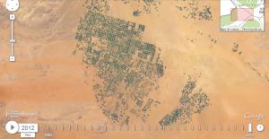 Misma zona desértica en 2012 repleta de cultivos de regadío