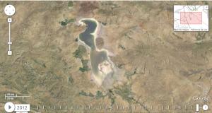 El lago Urmia en 2012