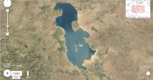 Lago Urmía (Irán) en 1984