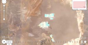 Piscinas de salmuera y de procesamiento de litio cerca de S.Pedro de Atacama en 2012