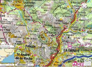 Esta enorme urbanización también se evidencia en los mapas topográficos del instituto geográfico nacional francés. Fijaros la gran cantidad de carreteras y nombres, y también fijaros en las curvas de nivel que nos muestras un abrupto relieve en las inmediaciones de la costa
