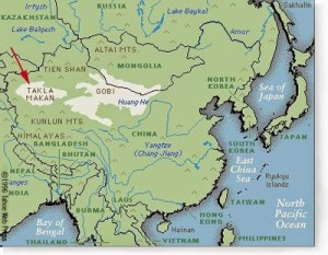 Localización del Taklamakan dentro de Asia