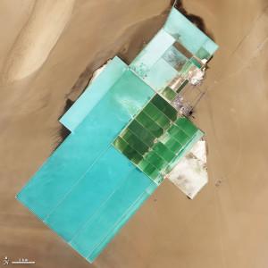 Imagen de satélite de la planta de producción de sulfato potásico en Lop Nor. Cortesía de la NASA