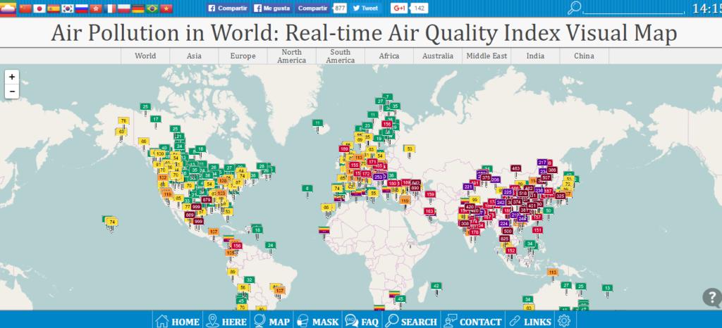 Así es la vista general de la web. Podéis ver numerosos puntos a lo largo y ancho del mundo correspondientes con estaciones de control atmosférico en ciudades y complejos industriales