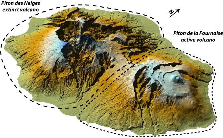 Distribución de los volcanes en Reunión. Fte:http://geosciencesreunion.fr/